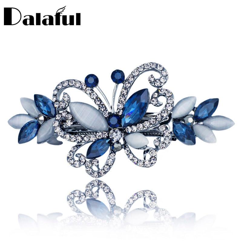 Opals Crystal Butterfly Rhinestone Clip Gwallt Barrette Headwear Hairpin Affeithwyr Gemwaith Gwallt Ar Gyfer Priodas Merched Merched F134
