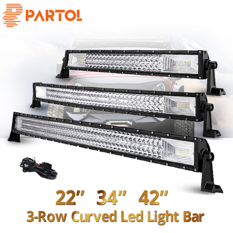 Partol 22 32 34 42 50 52 inch Curved LED Light Bar Tri-Row Work Light Spot Flood Beam 594W 12V 24V For ATVs,SUV Offroad 4x4 zlrowr 4pcs set silicone anti cellulite vacuum cupping facial body cup massage tool kit