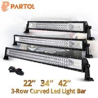 Partol 22 32 34 42 50 52 inch Curved LED Light Bar Tri Row Work Light Spot Flood Beam 594W 12V 24V For ATVs,SUV Offroad 4x4