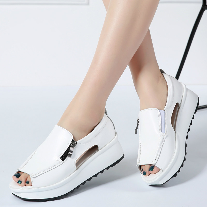 2019 Summer women sandals wedges sandals ladies open toe round toe zipper black silver white platform sandals shoes(China)