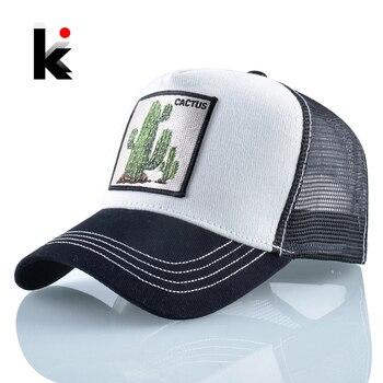 Women's Baseball Caps Summer Breathable Mesh Hats Men Cactus Embroidery Snapback Cap Outdoor Visor Hat Streetwear Hip Hop Bone 1