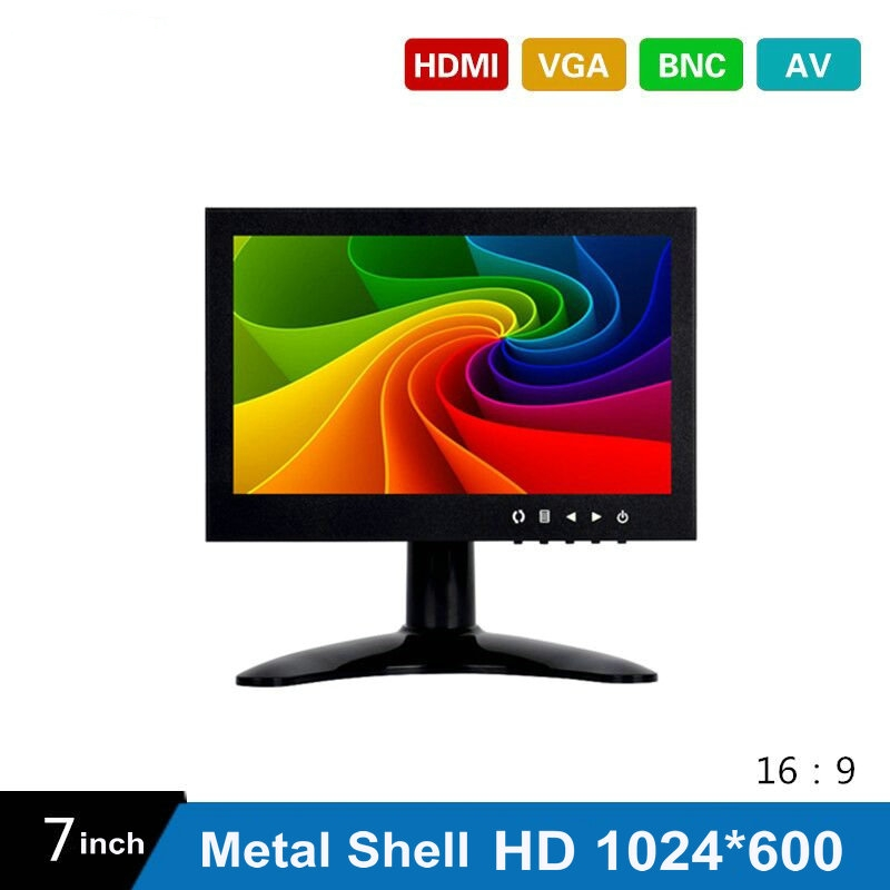 7 Inch HD CCTV TFT-LED Monitor with Metal Shell & HDMI VGA AV BNC Connector for PC & Multimedia & Donitor Display & Microscope white 8 inch open frame industrial monitor metal monitor with vga av bnc hdmi monitor