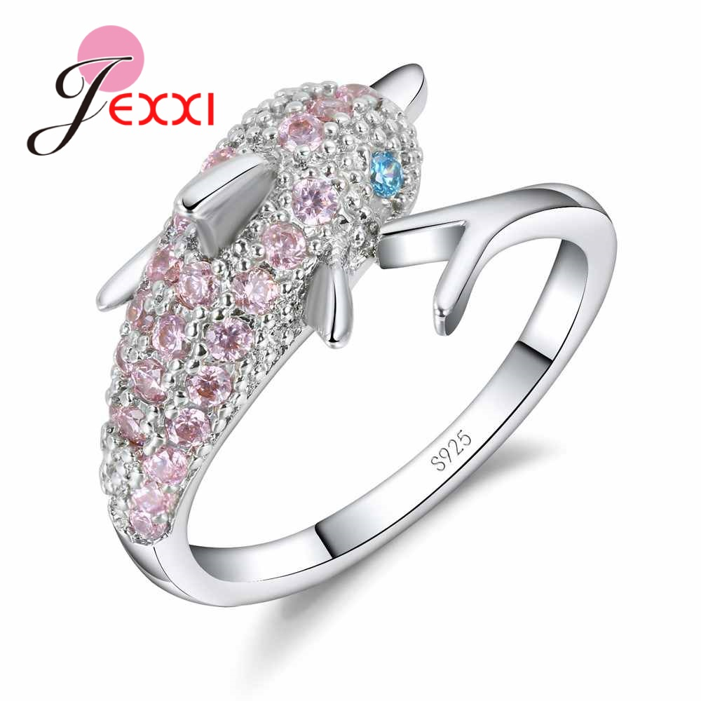 JEXXI Lovely Silver Dolphin Ring for Women Girls with Shiny White/Pink/Blue CZ Crystal 925 Sterling Silver Engagement Jewelry