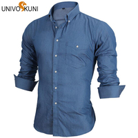 Long Sleeve Denim Shirts Men Casual Shirt Fashion Slim Mens Jeans Shirts Brand Camsia Masculine EU