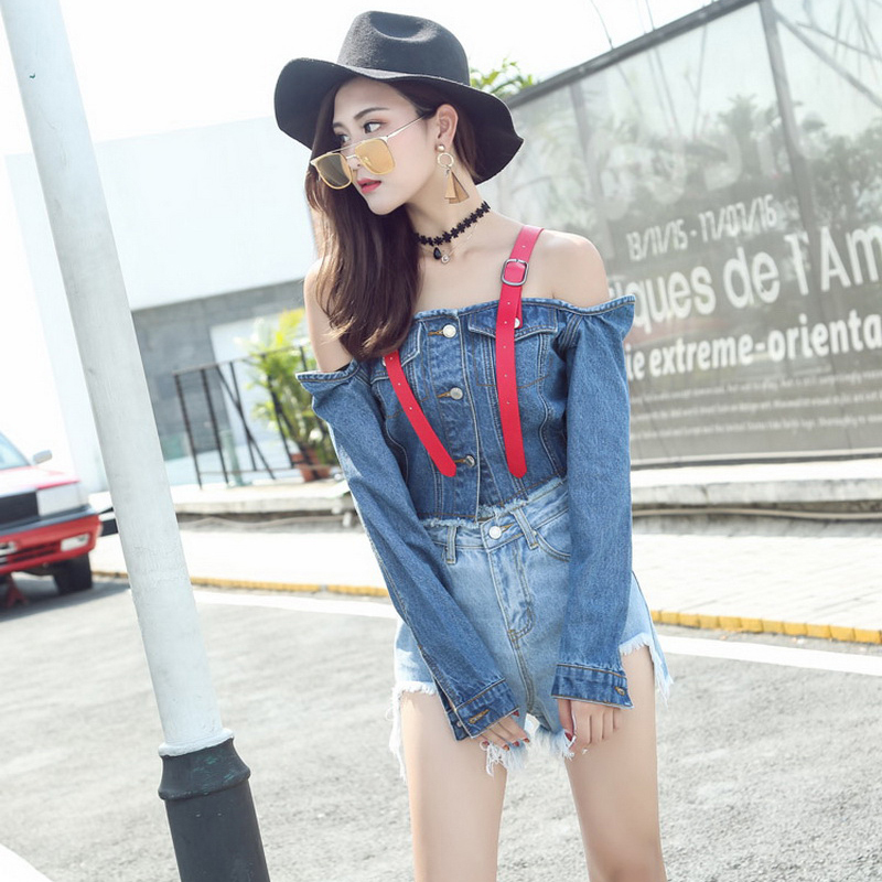 4105069326625 Femme Blue Jeans Jacket Women 2017 Spring New European Style Sexy Off  Shoulder Long Sleeve Cropped Denim Jacket jaqueta feminina-in Basic Jackets  from ...