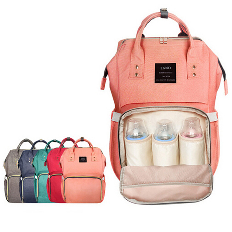 LAND Baby Bag Fashion Nappy Bags Large Diaper Bag Backpack Baby Organizer Maternity Bags For Mother Handbag Baby Nappy Backpack~ bag