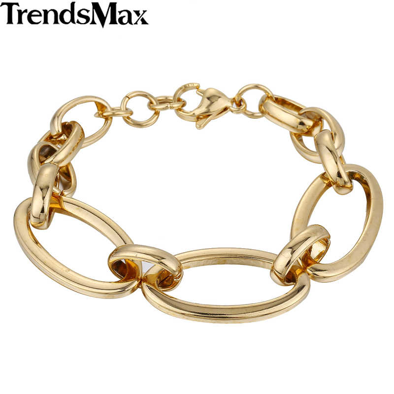 970d4f32b Women's Bracelets Rose Gold Silver Oval Link Chain Stainless Steel Bracelet  For Male Jewelry Gifts Dropshipping