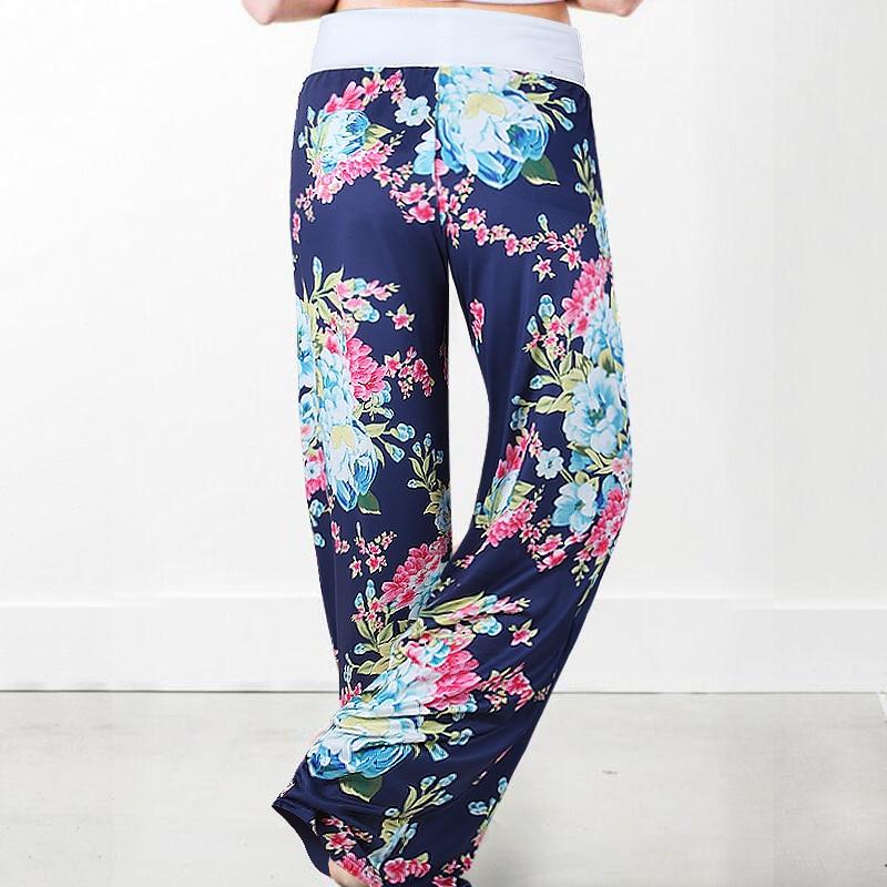 Women Long Pants Loose Floral Print Drawstring Lace Camouflage stripe Wave point Sweatpants 23