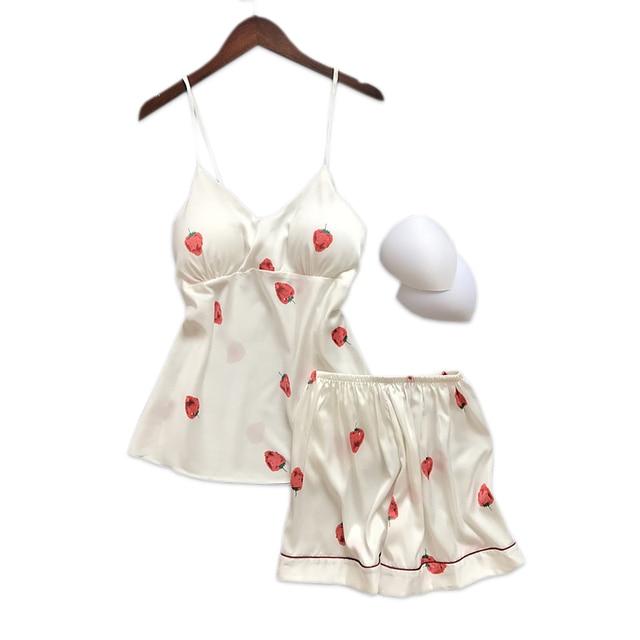 Sexy strawberry satin silk short pyjamas women spaghetti strap sleepwear  women pajama sets shorts indoorwear homewear 436fab86c