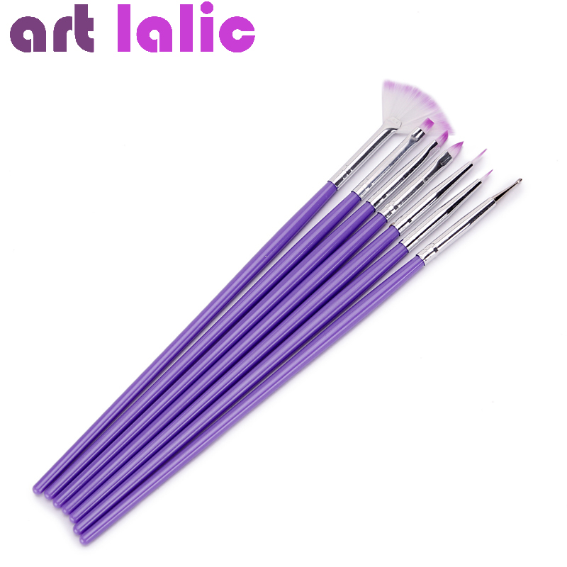 Hot Purple Nail Art Design Borste Manikyr För Måla Dotting Tool Borstar Pen Set 7PCS