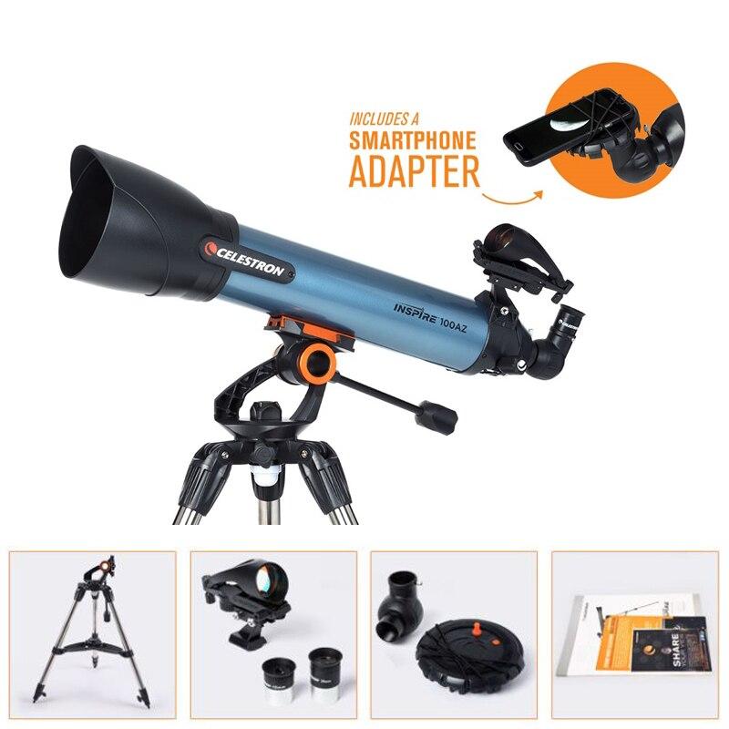 CELESTRON INSPIRE 100AZ réfracteur télescope robuste acier trépied Smartphone adaptateur 20mm & 10mm Kellner oculaires StarPointer PRO