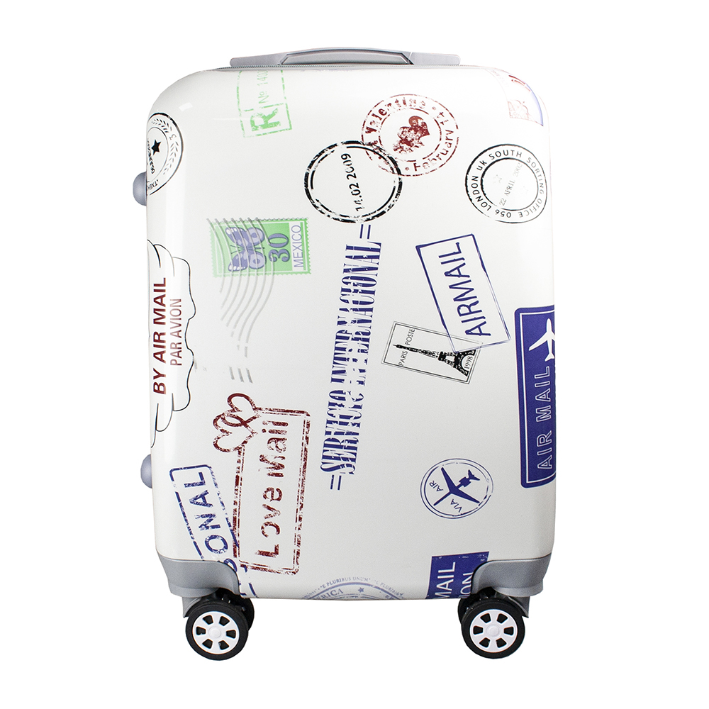 Fashionable suitcase with print PROFFI TRAVEL PH9206, S, plastic, with combination lock fashionable suitcase with print proffi travel ph9209 m plastic medium with combination lock