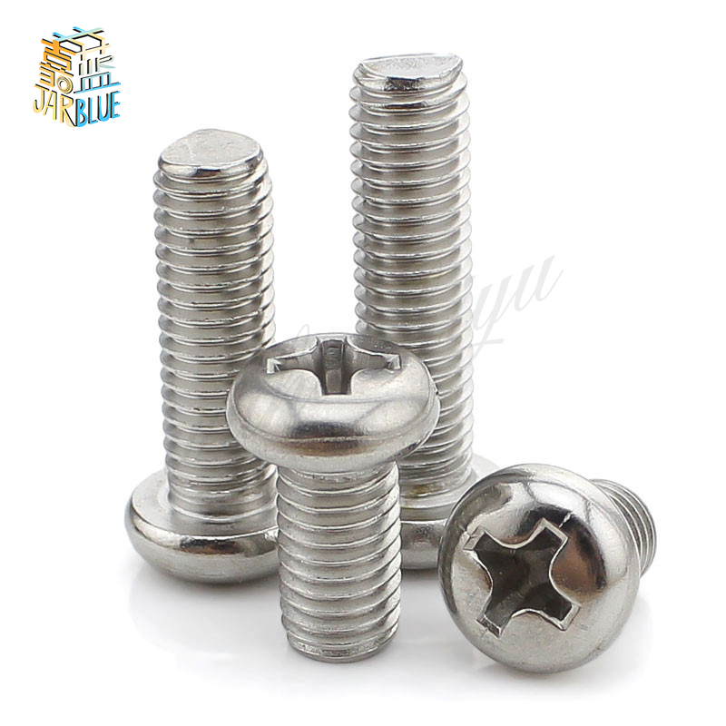 100pcs M1 M1.2 M1.4 m1.6 M2 DIN7985 Stainless Steel Cross Recessed Pan Head Screws Phillips Screws stainless steel sems screws m3x8 pan head 1 phillips driver polished rohs