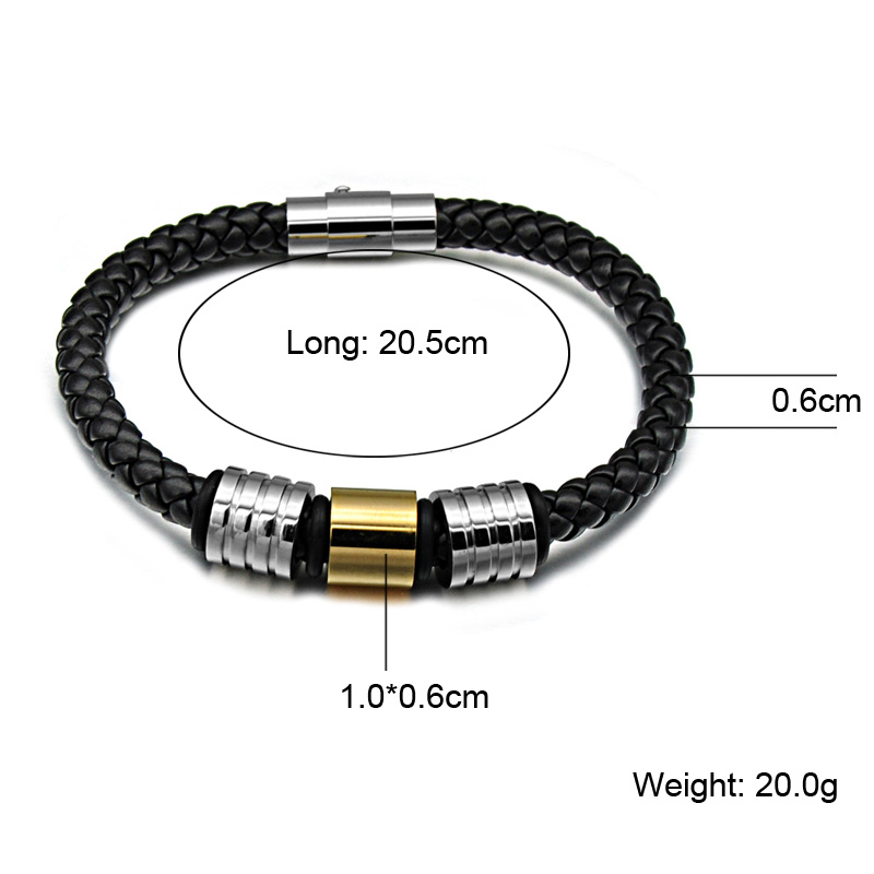 HIP Mens Black Braided Geunine Leather Bracelet Gold Stainless Steel Bead Charm Bracelets Bangles for Men Jewelry friendship Git
