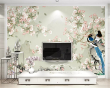 beibehang Customized thick papel de parede wallpaper sea bream new Chinese style hand-painted flowers birds decoration painting