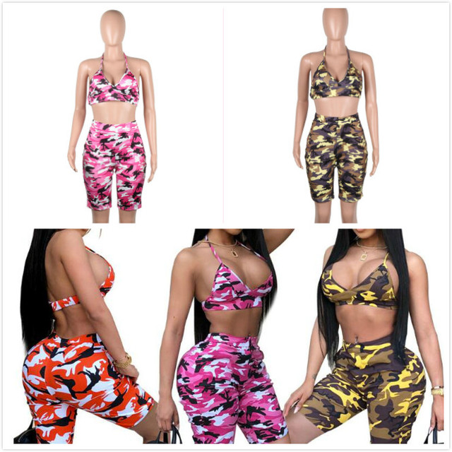 6de4ba49a721 Women Camouflage Tracksuit Sexy 2 Two Piece Set Summer Outfits Strapless  Bra Crop Top and Shorts Suits Camo Matching Sets 2pcs