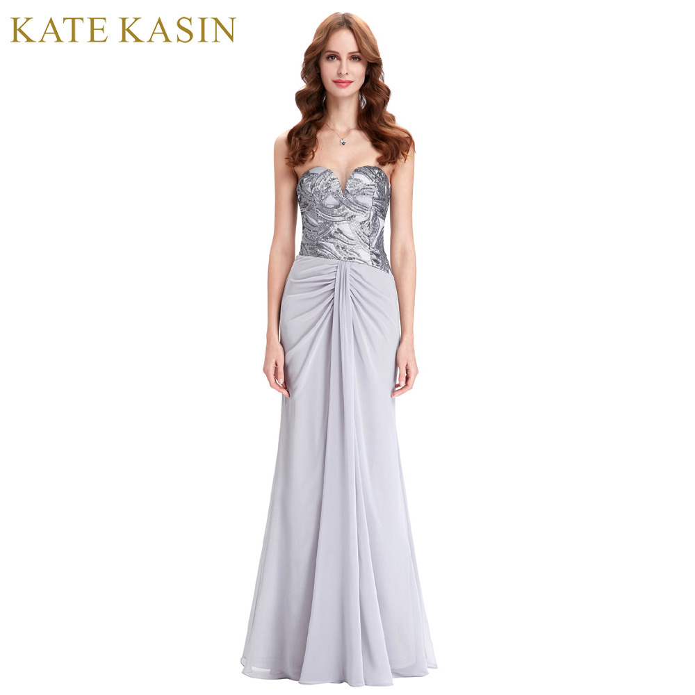 kate kasin grey silver sequin mermaid evening dress 2018