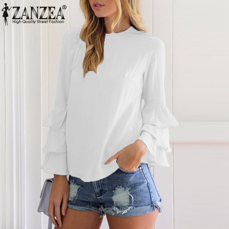 HTB1BuyzRVXXXXacXVXXq6xXFXXXK - Women Blouses Shirt Elegant Ladies O Neck Long Flare Sleeve