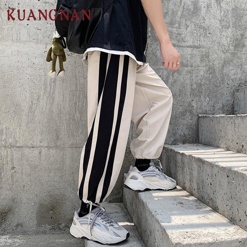 KUANGNAN Men Trousers Joggers-Pants Streetwear Ankle-Length Fashions Liquor XXL