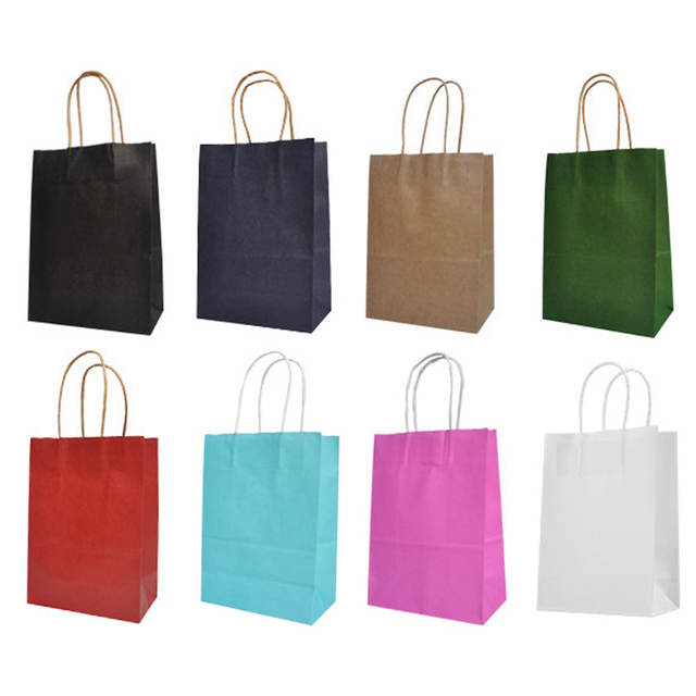 10 pieces/batch brown paper bag with handle recyclable bag fashion clothes  shoes gift shop 8 size cowhide color gift box candy