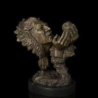 Nouveau Artes BRONZES ATLIE cabeça do crânio do Estilo Abstrato arte ocidental Bronze estátua antiga escultura moderna DECORAÇÃO DA CASA