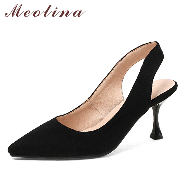 7c81586cb8bf Meotina Women Pumps High Heels Slingbacks Shoes Black Pointed Toe Kitten  Heel Ladies Party Shoes 2018 Spring New Big Size 33-43