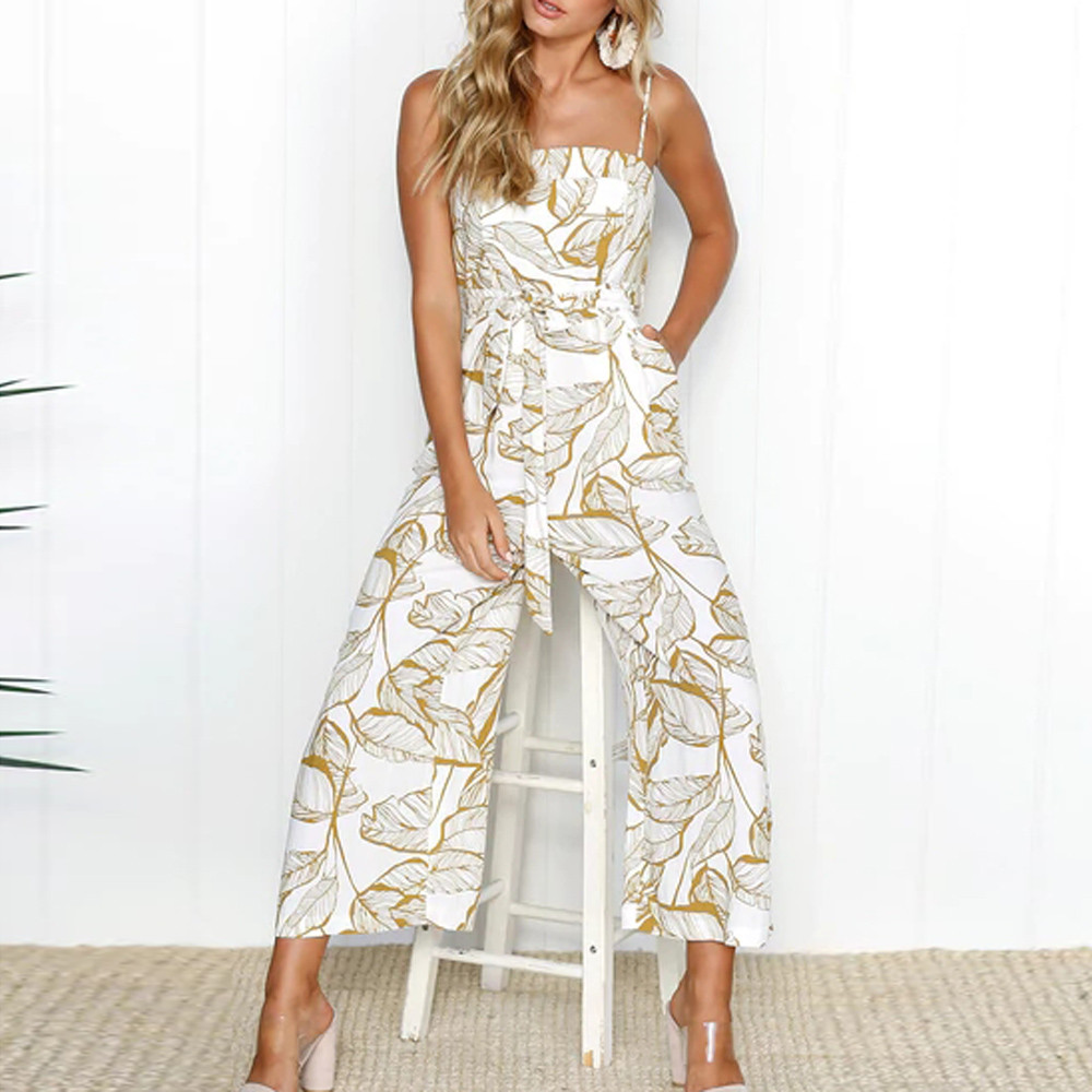 9ba5b25b74e FeiTong Backless tropical print women jumpsuit summer Strap wide leg  jumpsuit romper 2018 Streetwear overall jumpsuit macacao