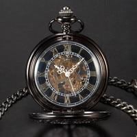 Men Black Tone Skeleton Mechanical Flower Carved Open Face Pendant Pocket Watch gift