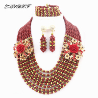 Fashion Crystal Beads Jewelery Sets African Nigerian Beads Jewelry Sets For Wedding HD3809