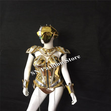 AS81 Sexy singer stage catwalk wear cosplay cloth LED costumes ballroom dance costume dress bar dj disco women show bra shoulder