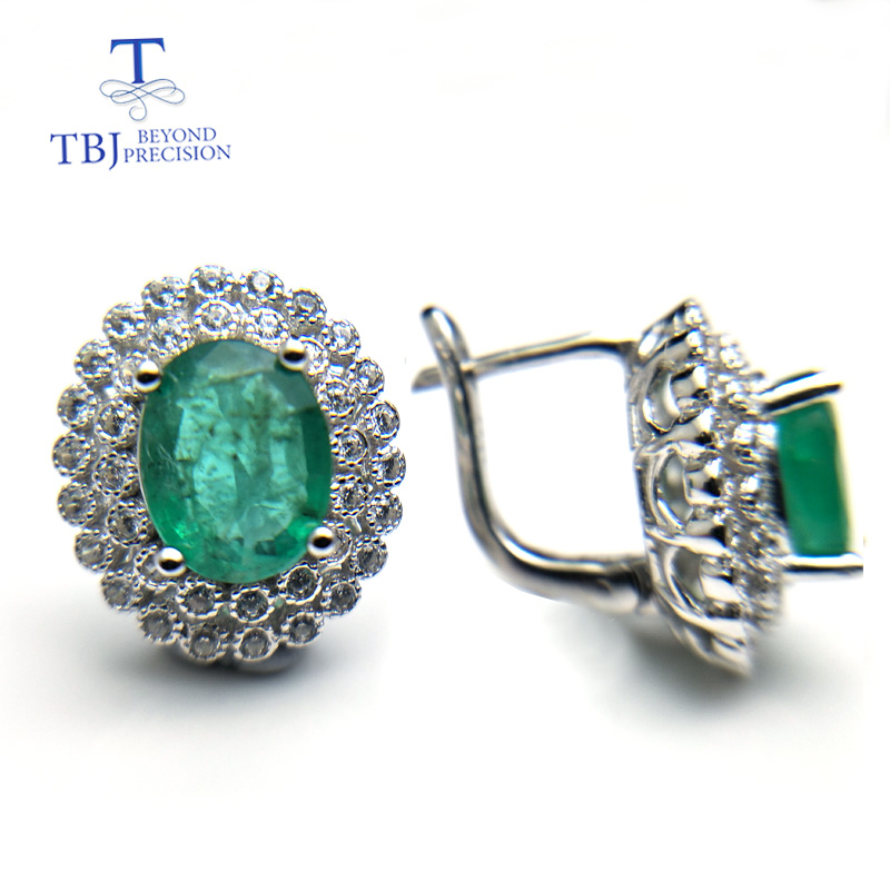 TBJ, natural 2.6ct green zambia emerald clasp earring 925 sterling silver gemstone fine jewelry best party gift for mom wife