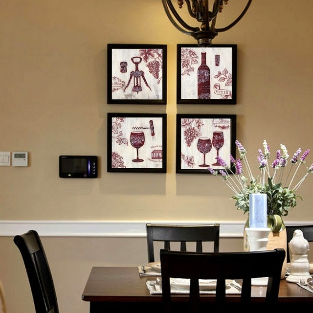 Moderne Wandkunst Ölgemälde Druck Auf Leinwand Rotwein Glas Tasse  Flaschenöffner Hause Dekorative 4 Stücke Kein Gestaltet
