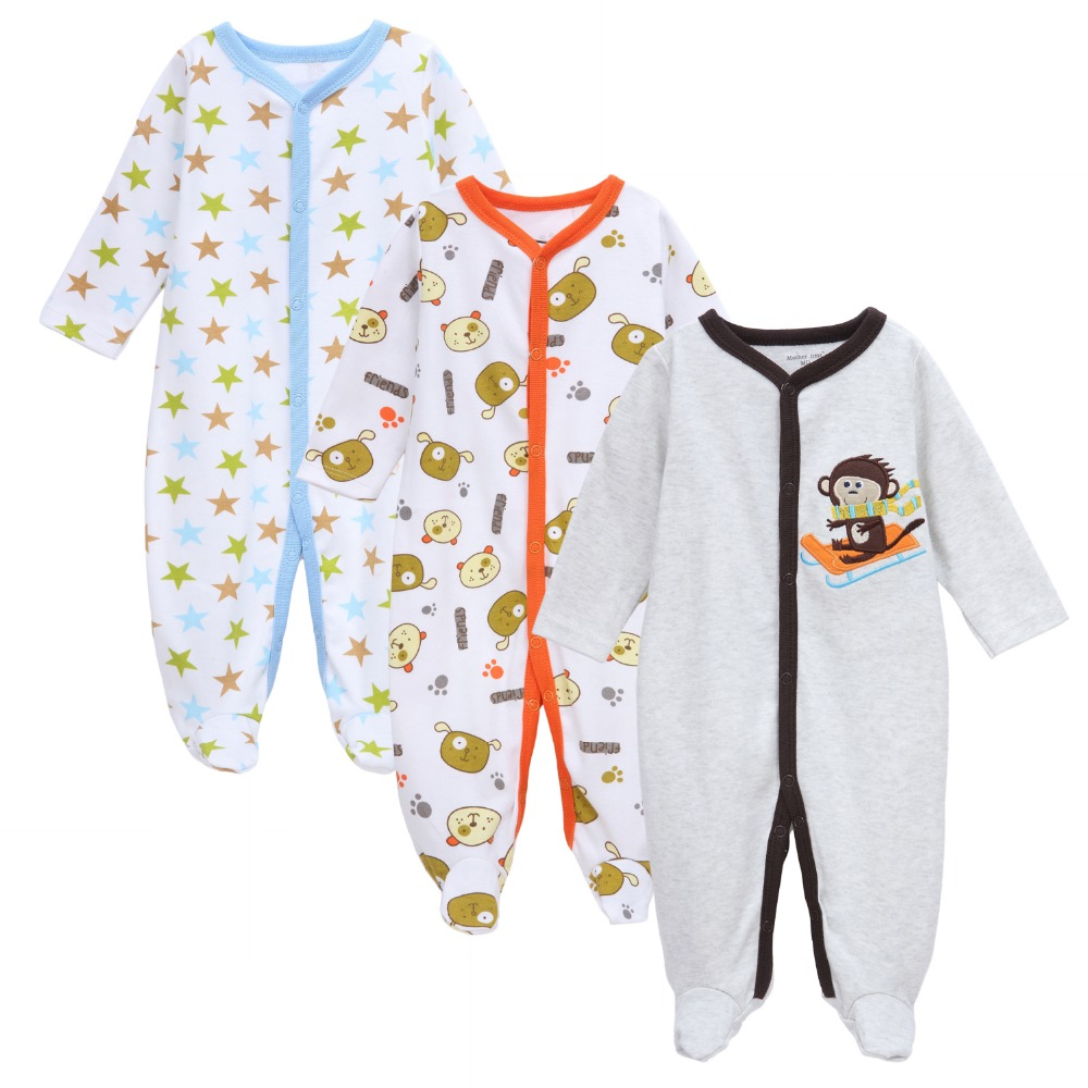 Mother Nest Brand Baby Rompers Newborn Cotton Long Pajamas 3pcs/lot Toddler Baby One-Pieces Little Kids Clothes Top Quality 2017 new fashion cute rompers toddlers unisex baby clothes newborn baby overalls ropa bebes pajamas kids toddler clothes sr133