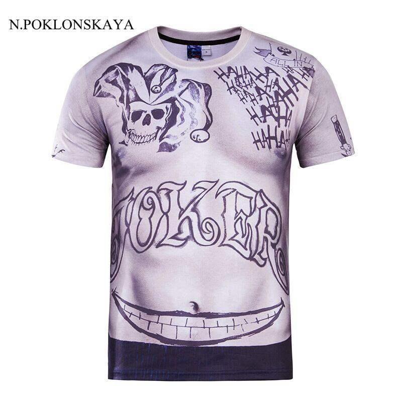الرجال الانتحار فرقة t-shirt مهرج زي الرجال تي شيرت قمم 3d خندق شخصية تأثيري مهرج شيرت هالوين camiseta g2b