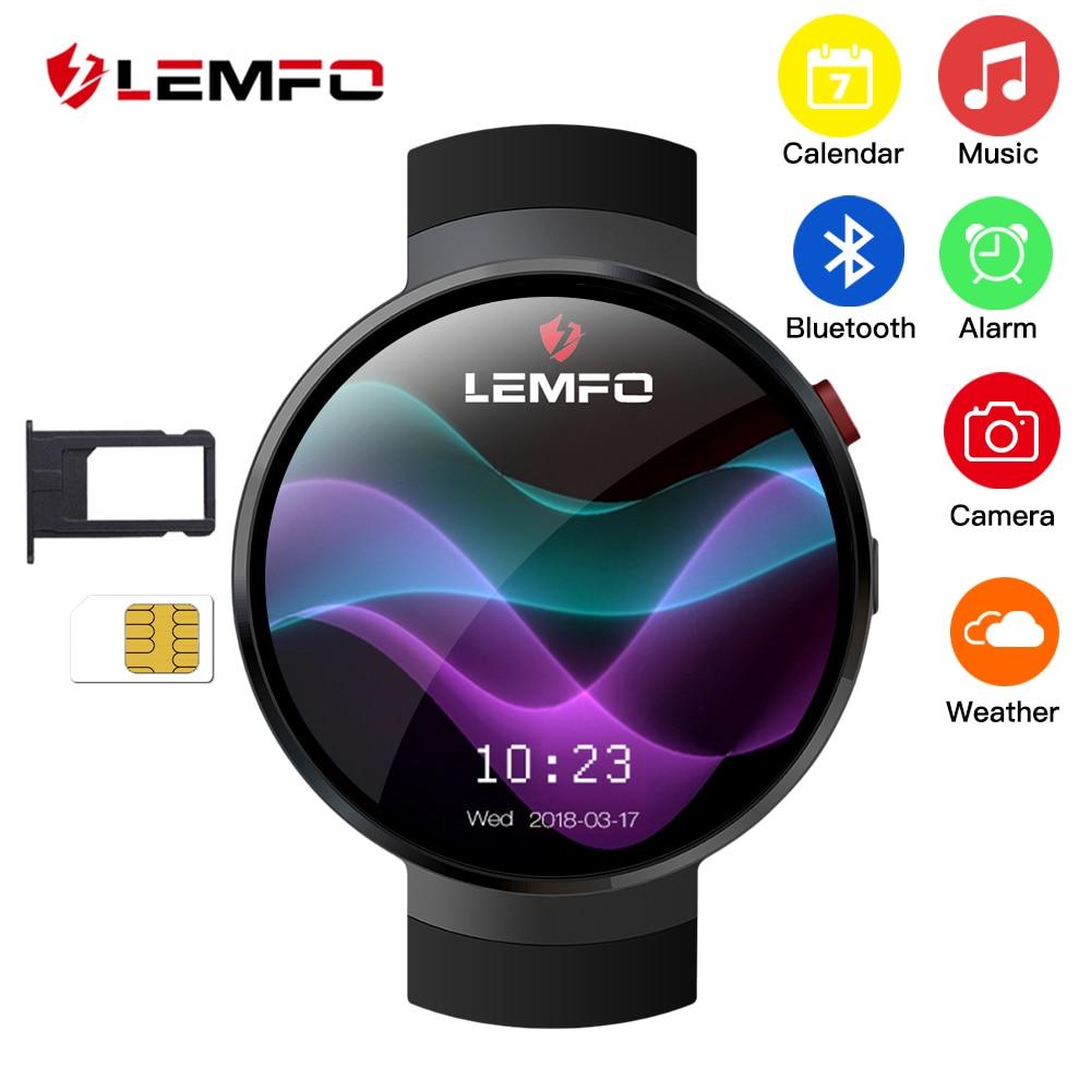 LEMFO LEM7 Astuto Della Vigilanza del Android 7.1.1 LTE 4g Sim 2MP Macchina Fotografica di WIFI GPS Frequenza Cardiaca 1 gb + 16 gb di Memoria con la Macchina Fotografica Smartwatch per Gli Uomini