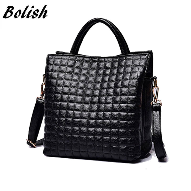 Bolish European and American Style Women Bag High Quality Soft PU Leather Winter Handbag Fashion Plaid Female Shoulder Bag dtbg pu leather women handbag fashion european and american style totes messenger bag original design briefcase zipper 2017