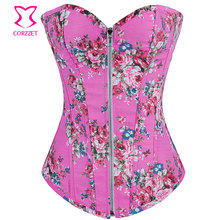 568a082615b Pink Floral Pattern Denim Zipper Corset Top Burlesque Cowgirl Sexy Corsets  And Bustiers Gothic Corpete E