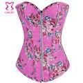 Rosa padrão Floral Denim Zipper Corset Top Burlesque Cowgirl Sexy Espartilhos E corpetes Gothic Corpete E Corseletes Espartilhos