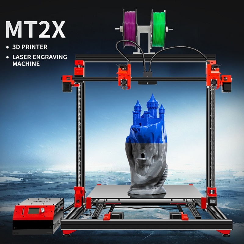 MULTOO 3D Printer MT2X Large Printing Size High Quality Precision  Ball Screw Preciser Single Dual 3D Printer 500*500*500