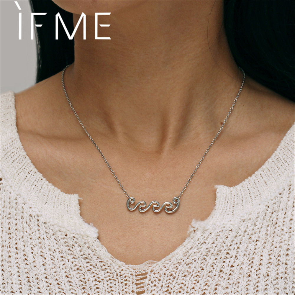 IF ME Trendy Wave Pendant Choker Necklaces for Women Vintage Silver Color Horizon Bar Chain Statement Necklace Jewelry 2018 NEW