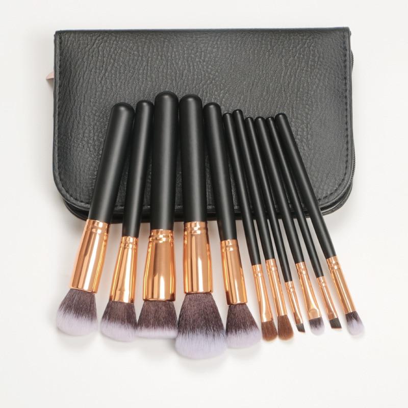 Vander 11 Pcs Makeup Brushes Set Power Foundation Blending Eye Shadow Concealer Blush Face Make Up Brush Beauty Kit PU tool bag