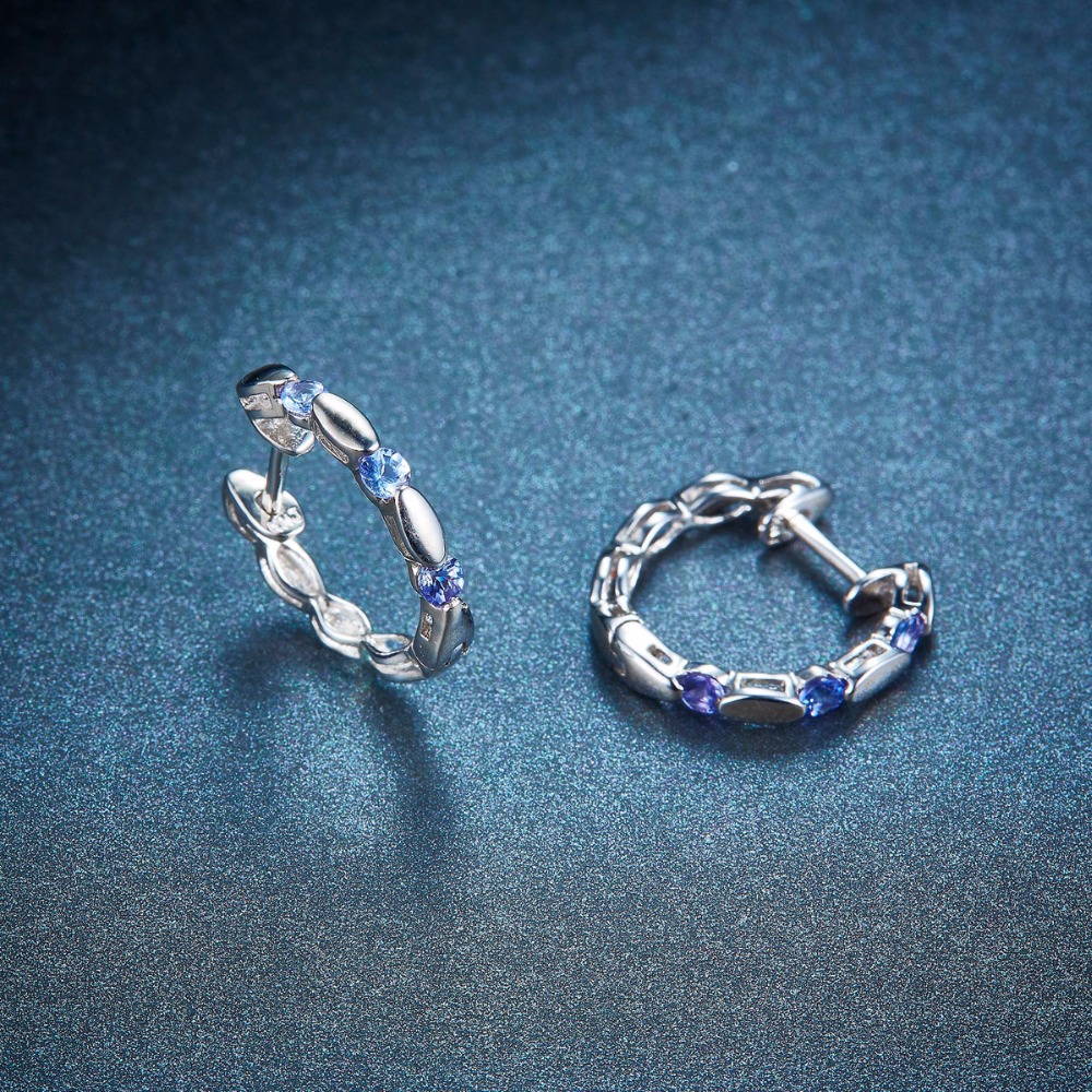 Aliexpress Hutang Natural Gemstone Tanzanite Stud Earrings Solid 925 Sterling Silver Fine Jewelry For Women S Gift 2017 New From Reliable
