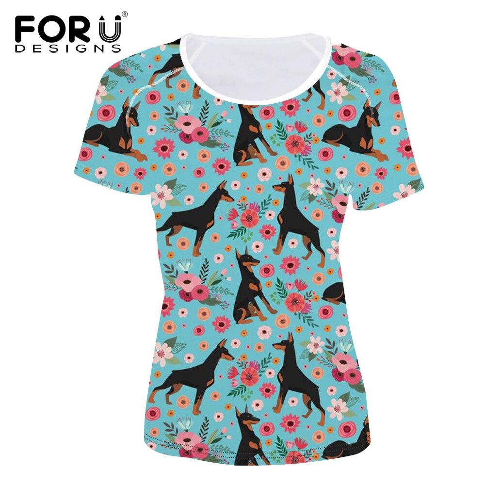 FORUDESIGNS Doberman Flower Printing T Shirt Women Short Sleeve T shirt Female Fashion Floral Tee Shirt for Teen Girls Cute Tops in T Shirts from Women 39 s Clothing
