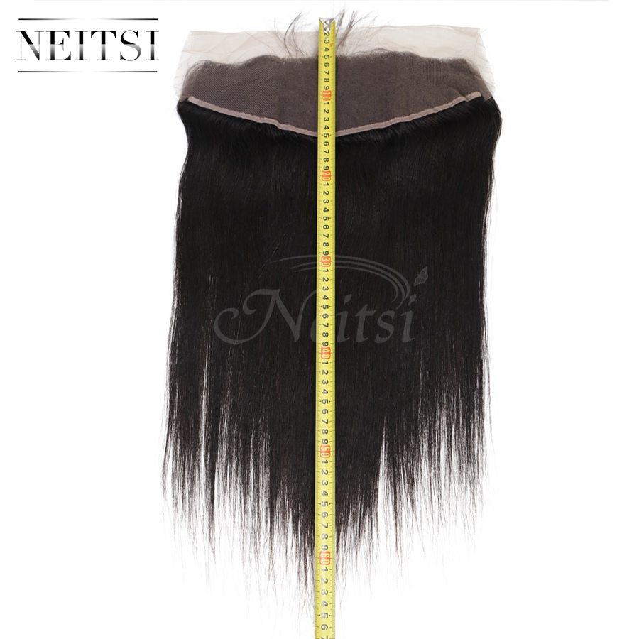 Neitsi Hair 13x4 Peruvian Straight Lace Frontal Closure With Baby Hair Free Part 22 Natural Black Remy Human Hair Extensions
