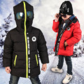 Большие Мальчики Зима Jakect Пальто с Очки Ребенок Подросток Теплый Утолщение Детский Хэллоуин Прохладный Парки для Детей Верхняя Одежда