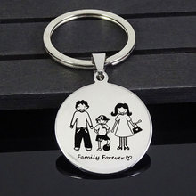 Keychain Family Mother's Day Round Key ring Pendants Mom Dad Daughter Son Loved Pet Stainless Steel Personalized Custom Gift(China)