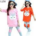 LZH 2017 Primavera Otoño Que Arropan Las Muchachas Fox Imprimir Niños ropa Fijada 2 unids Traje Traje de Deporte Para Niñas Ropa de Los Niños ropa