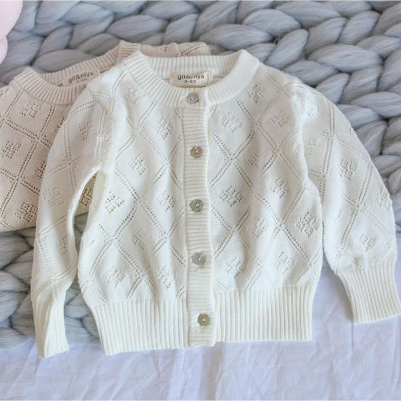 2018 New Children Sweater Autumn Winter Cotton Knitted Cardigan Hollow-Out Lattice Baby Sweater Top Jacket 1-6Y Sweater Retro floral plus size lattice hollow out top