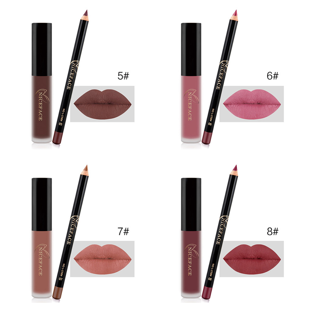 Long Lasting Lip Gloss Waterproof Matte Liquid Lipstick Lip Pencils Lipliner Pen 2pcs/set Professional Combination maquiagem