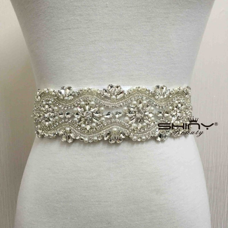 Shinybeauty rhinestone applique bridal sash applique and for Wedding dress accessories belt